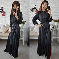 Женское платье в пол из шелка на пуговицах