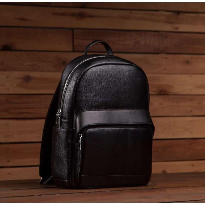 d7da403e5965 Мужской кожаный черный городской сasual рюкзак ручная работа ...