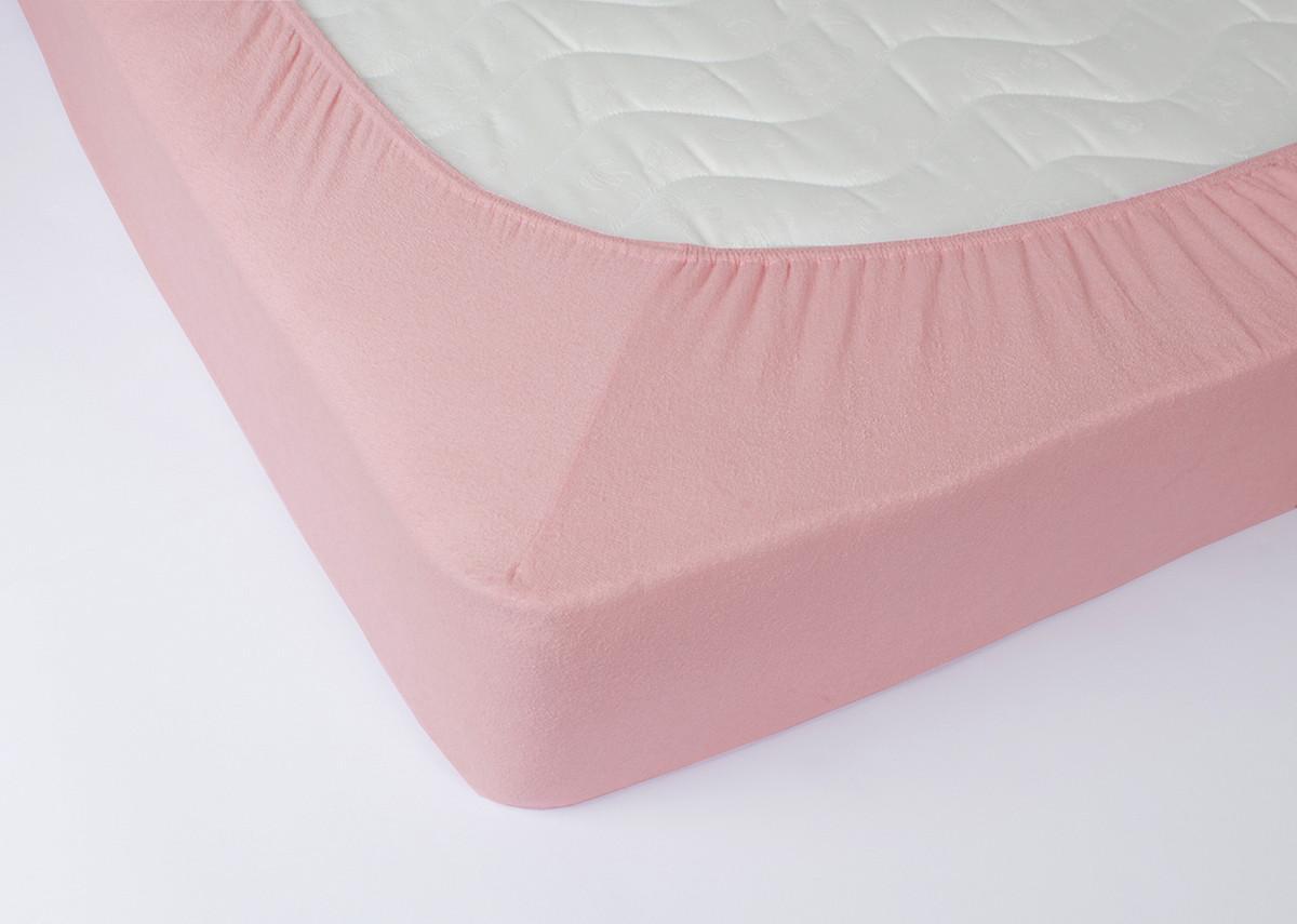 Простынь махровая на резинке Lotus - Розовая 180*200