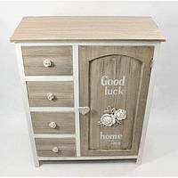 """Комод деревянный для дома """"Прованс"""" FF411, на 4 ящика, 1 шкафчик, дерево, 80х65х30 см, комод в прихожую, комод в гостинную, комод для интерьера"""