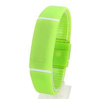 Спортивные силиконовые водонепроницаемые наручные LED часы - браслет 2 в 1, Салатовый, Унисекс