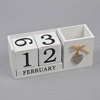 "Вечный календарь для декора ""Silver Heart"" PR365, размер 9х21х16 см, материал MDF, белый, календарь из дерева, бесконечный календарь"