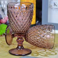 """Бокал стеклянный для вина """"Glass"""" VB709, размер 17х8.5 см, объем 375 мл, в коробке, винный бокал, бокал для напитков"""