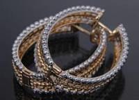 """Серьги XUPING JEWELRY """"Овал""""(серьги -кольца) с комбинированным покрытием (золото, родий), 4,5 см, , классические серьги, ювелирная бижутерия,"""