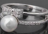 Кольцо XUPING JEWELRY (размер 17,5) с искусственными белыми камнями и жемчужиной, покрытие родий, женское, ювелирная бижутерия, бижутерия ксюпинг