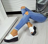 Шлепанцы-сабо женские на платформе кожа цвета разные 0034ТОПС
