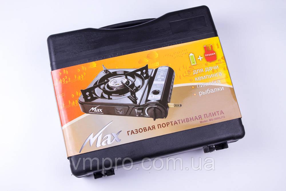 Портативна газова плита Max-LPG, посилена, у валізі з адаптером