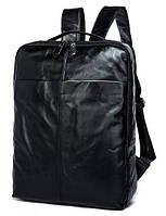 Рюкзак кожаный для ноутбука макбука 13 14 два отделения черный мужской