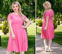 Нежное платье полубатал ( арт. 103/2 ), ткань софт+ эластан, цвет розовый