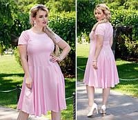Нежное платье полубатал ( арт. 103/2 ), ткань софт+ эластан, цвет светлый розовый