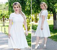 Нежное платье полубатал ( арт. 103/2 ), ткань софт+ эластан, цвет  белый