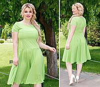 Нежное платье полубатал ( арт. 103/2 ), ткань софт+ эластан, цвет  яблоко, фото 1