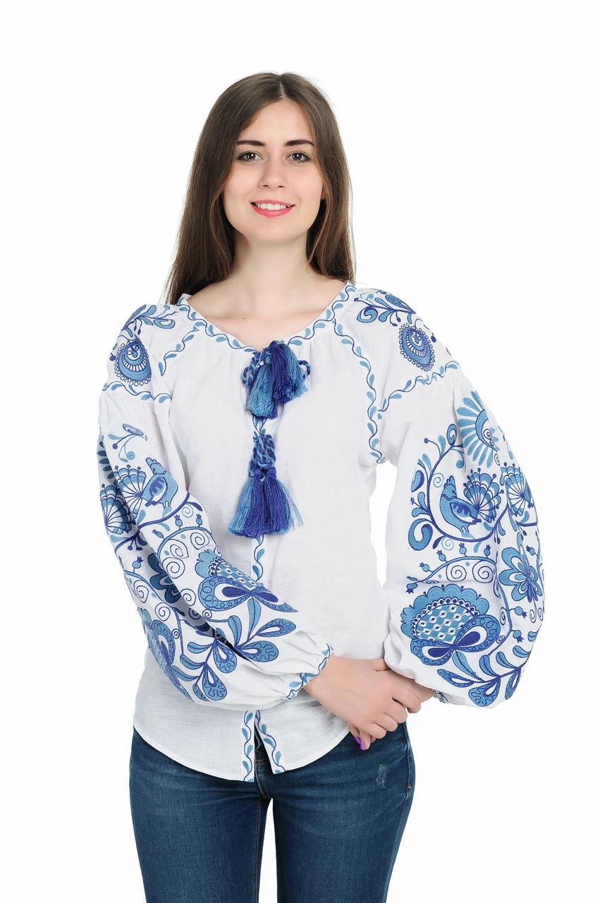 """Блуза жіноча """"Дерево Життя"""", білий  льон"""