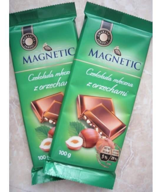 Шоколад молочный с лесными орехами Magnetic 100гр