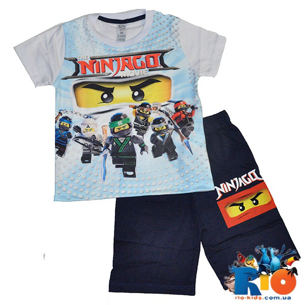 Летний костюм (футболка, шорты), 100% cotton, для мальчика ростом 98-128 см (5 ед в уп)