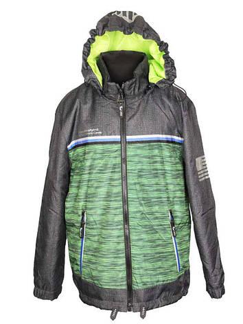 Термо куртка-парка демисезонная для мальчика 5-6 лет зеленая, фото 2