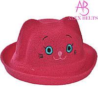Детская шляпа (малиновая) «Кошечка»  |  р. 52-54
