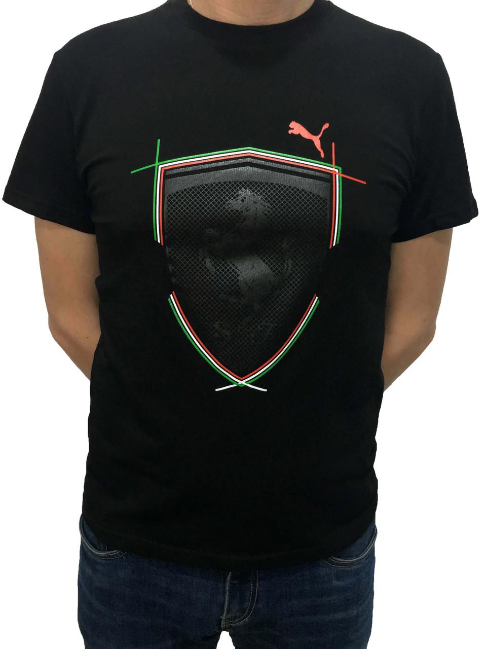 00155df9fa30 Черная мужская футболка Puma Ferrari с принтом хлопковая (Реплика) -  Shopchik в Одессе