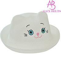 Детская шляпа (белая) «Кошечка»  |  р. 52-54