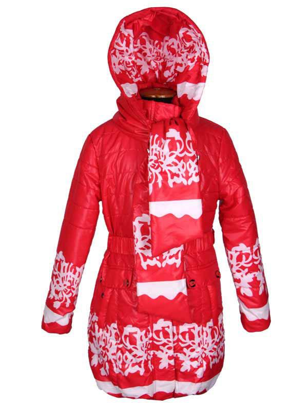 Удлиненная детская куртка-парка для девочки 128-152 рост яркая красная