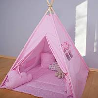 Детская палатка с окном + коврик + 2 подушки, вигвам для детей, шалаш для деток, палатка для девочки
