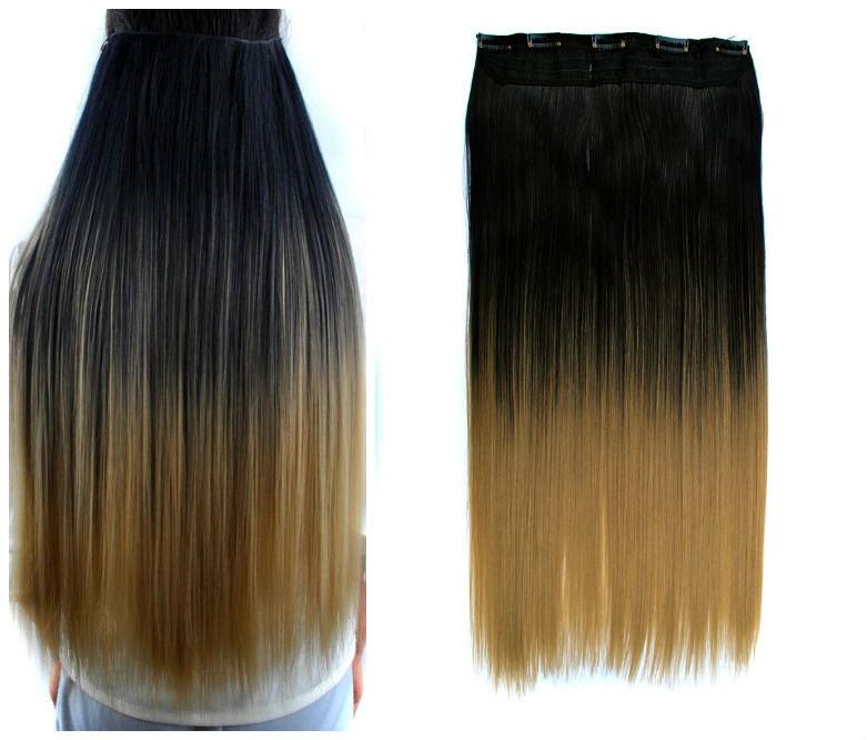 Волосы на заколках затылочная термо волосы тресс омбре ЧЕРНЫЙ / ЗОЛОТИ