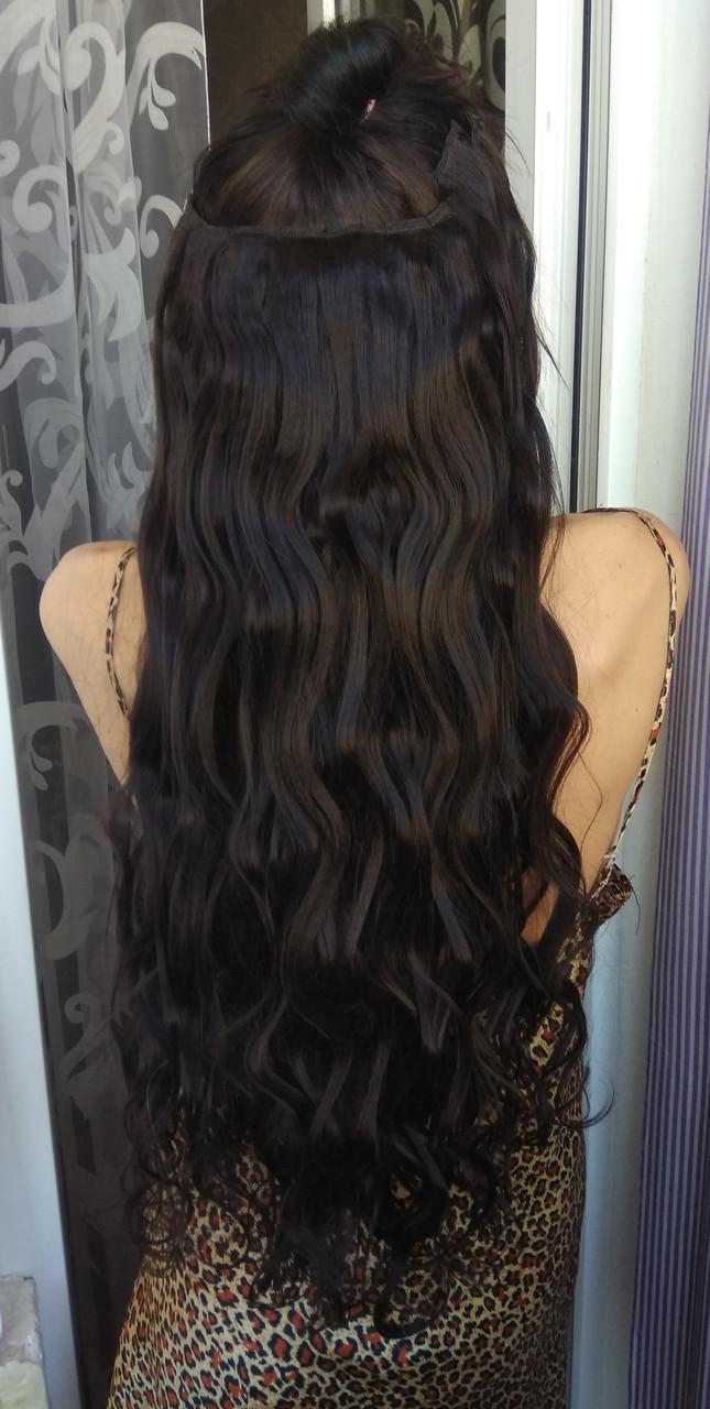 Волосы на заколках искусственные как натуральные 60см №2 темный шокола