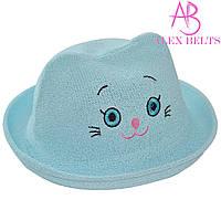 Детская шляпа (голубая) «Кошечка»  |  р. 52-54
