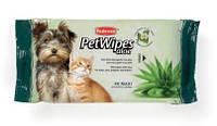Padovan Pet Wipes Aloe 40шт - Очищающие влажные салфетки с алоэ вера и ароматом зеленого чая