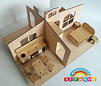 Кукольный домик 1 этаж с мебелью (разборный)