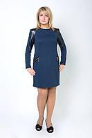 Купить женское платье со вставками кожзама
