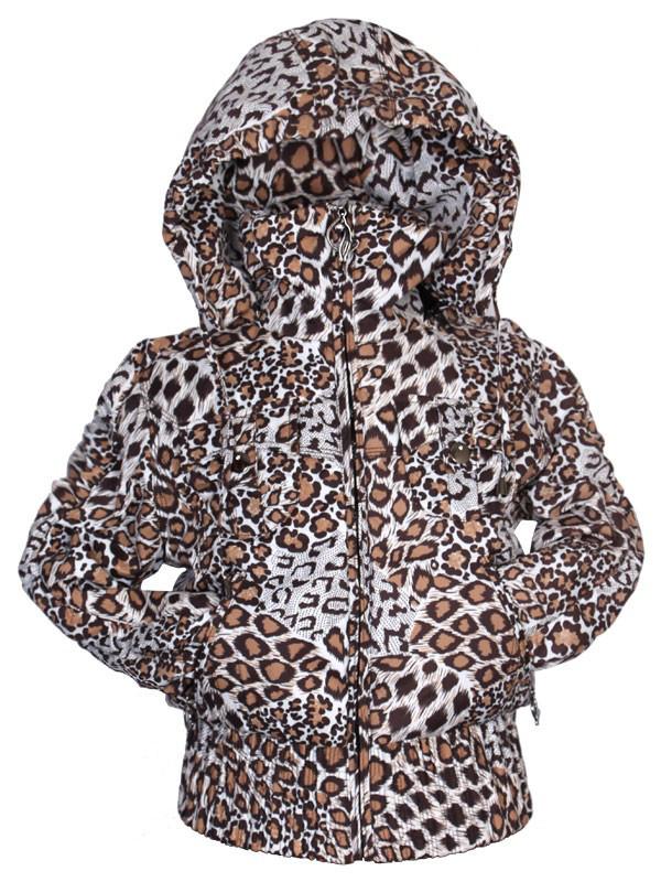 Модная короткая куртка  Gas Denim для девочки подростка с леопардовым принтом