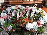 Композиція на арку з квітів(рожевий,білий,блакитний), фото 3