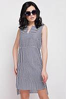 Легкое хлопковое летнее женское платье в темно-синеюполоску