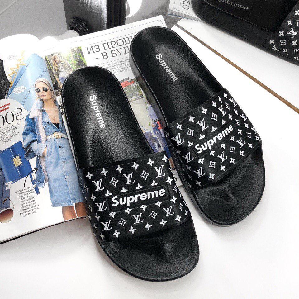 Женские Шлепанцы Supreme x Louis Vuitton Black 13109  продажа, цена ... f03093e54ca