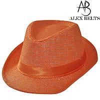 Шляпа соломенная ( оранжевый) подросток с лентой унисекс р. 54 см -купить оптом в Одессе