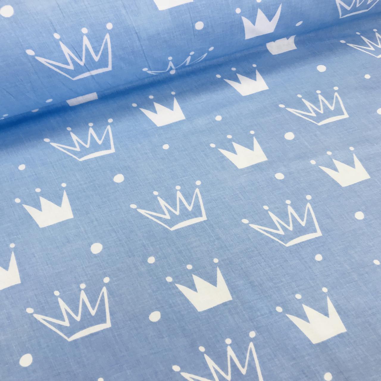 Хлопковая ткань бязь польская белые и голубые короны разного размера на голубом