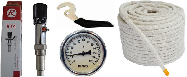 Регулятор тяги, термометр, ручка для твердотопливного котла
