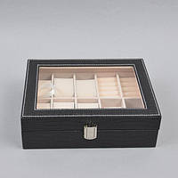 "Шкатулка настольная для часов / мелких драгоценностей ""Classic"" J292, кожзам, на 6 пар часов, 8х26х20 см, футляр для часов, коробка для часов"