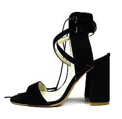 Черные женские замшевые босоножки ARI ANDANO на устойчивом каблуке