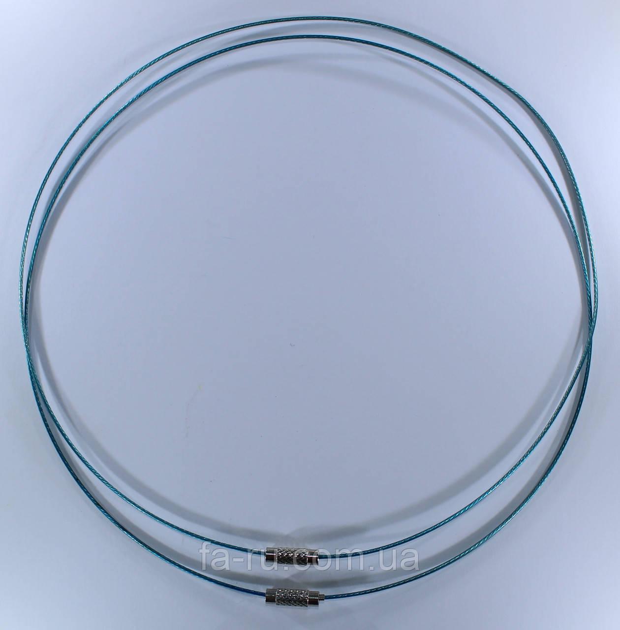 Основа для колье и кулонов(чокер). Цвет - голубой