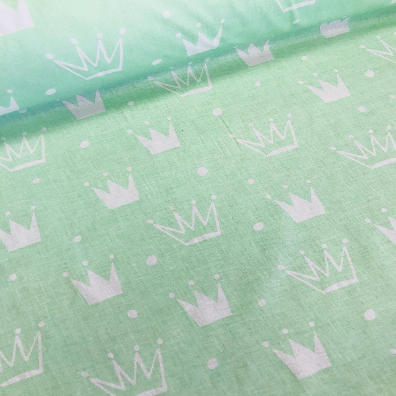 Хлопковая ткань бязь польская белые и мятные короны разного размера на мятном