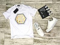 Мужская стильная футболка c принтом PHILIPP PLEIN белая