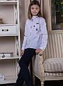 Блуза школьная c нашивками Elen Размер 146, фото 6