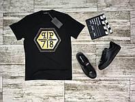 Мужская стильная футболка c принтом PHILIPP PLEIN черная