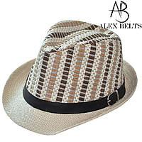 Шляпа соломенная  подросток с черным пояском унисекс р. 52-54 см -купить оптом в Одессе, фото 1