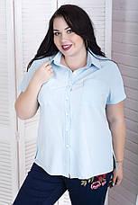 Голубая рубашка больших размеров на лето Ветерок, фото 2