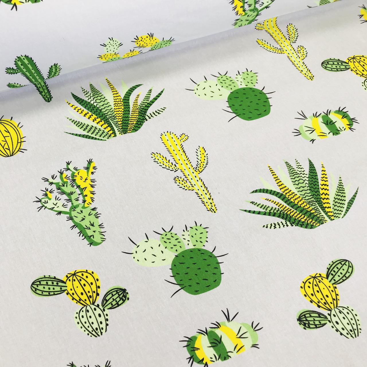 Хлопковая ткань польская кактусы желто-зеленые на сером