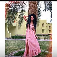 Платье сарафан на пуговичках длинное мята белый розовый 83 ДП, фото 1