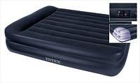 Надувная кровать Queen Rising Comfort Intex 66702 (157х203х47 см.) + встроенный насос 220V.